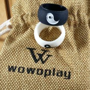 Silicone Tai Chi Design Black & White Rings